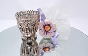 Fiore in ceramica decorato a mano e tulle - Collezione Ceramiche di Vietri - €6.50