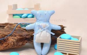Orsacchiotto grande in azzurro con sacchetto  bianco e nastrino azzurro - Collezione Shabby - €6,00